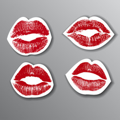 Red lips stickers set. design element. vector illustration
