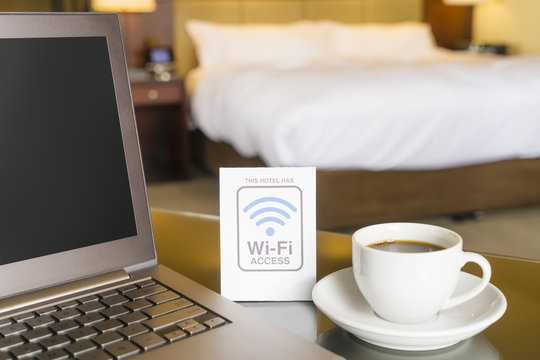 Hotel room with wifi access sign