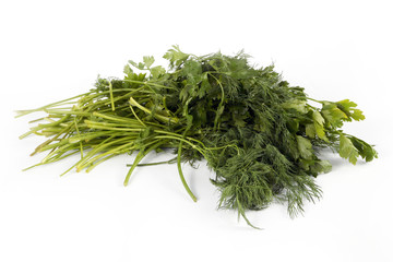 ripe fresh dill and parsley as a part of healthy food