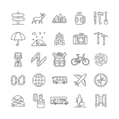 Line icons set of camping, hiking and tourism