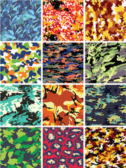 Colorful camouflage vector seamless pattern collection