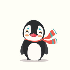 Vector icon illustration of a cute cartoon penguin with scarf isolated.