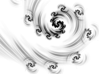 Black and white fractal. Abstract fractal. Fractal art background for creative design. Decoration for wallpaper desktop, poster, cover booklet, card. Psychedelic. Print for clothes, t-shirt.