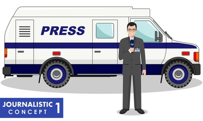 Journalistic concept. Detailed illustration of reporter and TV or news car in flat style on white background. Vector illustration.