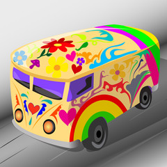 cheerful colorful mini bus