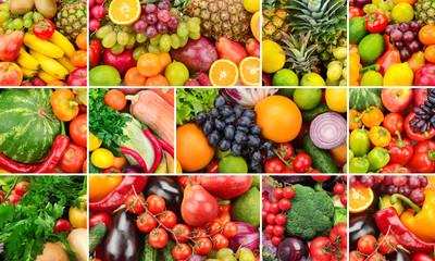 Collage of healthy foods. Fruits and vegetables. Background of useful products. Three photos for skinali.