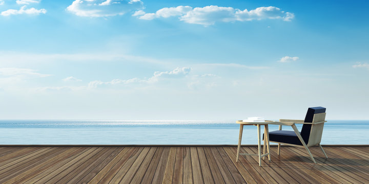 Simple armchair on wood deck and sea view 3D rendering