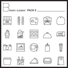 Bakery line icons set.Mono icons pack 5.