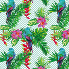 Beautiful seamless tropical jungle floral pattern background with palm leaves, flowers and beautiful exotic parrots. Vector illustration. Abstract striped geometric texture