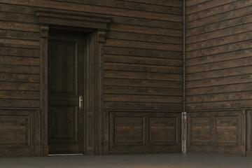 Classic wooden interior design with closed door.