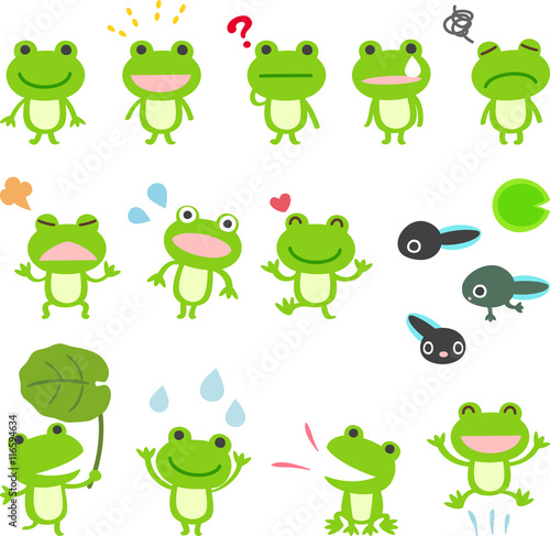 カエルのキャラクターのイラストセットfotoliacom の ストック画像と