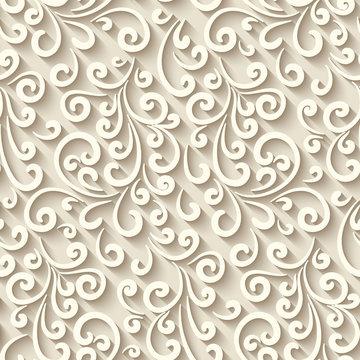 Seamless pattern with paper swirls