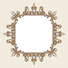 Vintage diamond jewelry frame, invitation template
