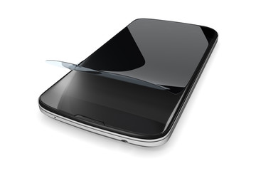 smartphone with a protection film