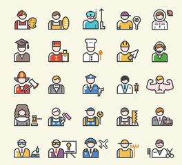 Set of 25 Minimal Solid Line Colored Professions Icons. Isolated Vector Elements.