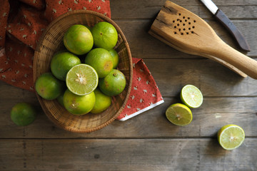 Limes on a wood table