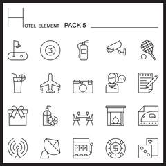 Hotel Element Line Icon Set 5.Mono pack.Graphic vector logo set.