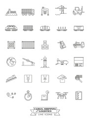 Cargo, Shipping and Logistics Line Icon Set