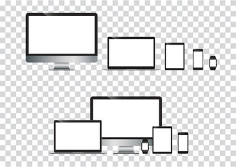 set of computer monitor, laptop, tablet, mobile phones smart phone. Electronic gadget isolated vector illustration