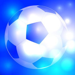 Soccer ball on beautiful glowing blue background