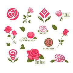 Abstract rose logos
