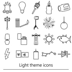 light theme modern simple black outline icons light source eps10