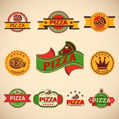 Pizzeria vintage badges collection