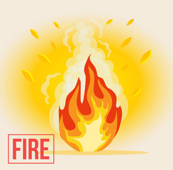 Symbol of cartoon fire. Vector flat illustration