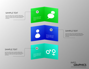 Abstract colorful cards. Vector people icons on shiny banners. Infographic for you artwork.