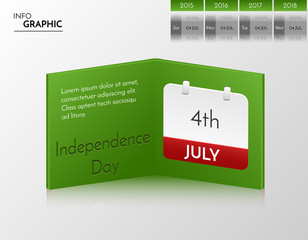 Green vector banner for you own artwork. Infographic book with independence day design.