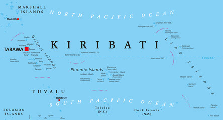 Kiribati political map with capital Tarawa. Republic and island nation in central Pacific Ocean. Archipelago with three main groups, Gilbert, Phoenix and Line Islands. English labeling. Illustration.