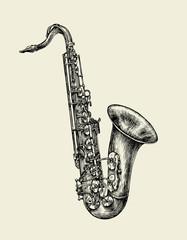 Jazz music. Hand drawn sketch saxophone, musical instrument. Vector illustration