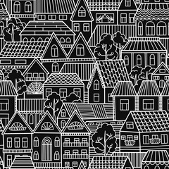 Seamless pattern with houses and trees. Vector illustration