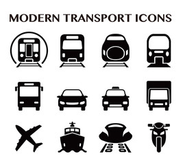 various transportation icon set, including cars, trains, subway, monorail, linear motor car, airplane, ship, motorcycle