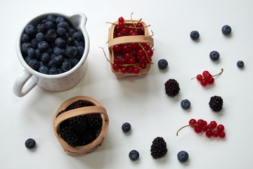 Mix of berries on white