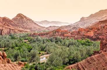 Foto auf Acrylglas Marokko The Dades Canyon and the city within, Ouazazate region, Morocco