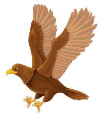 Cartoon bird - eagle flying - isolated - illustration for children