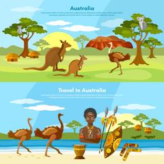 Australia travel banner people and animals australian aborigines