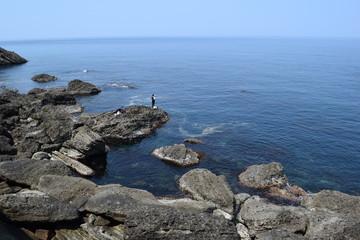 庄内海岸の岩場風景 / 奇岩怪石の磯が続く、山形県庄内海岸の岩場風景を撮影した写真です。