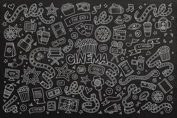 Cinema, movie, film doodles hand drawn chalkboard vector symbols