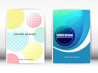 Cover Design Template Publication Multi-colored geometric shapes on a white background.
