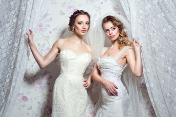 Two young beautiful European brides peep out through white curtains. Enigmatic look. Studio shot