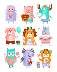Stylized Funky Animals Birthday Party Sticker Set