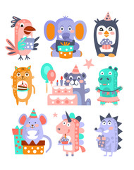 Stylized Funky Animals Birthday Celebration Sticker Set