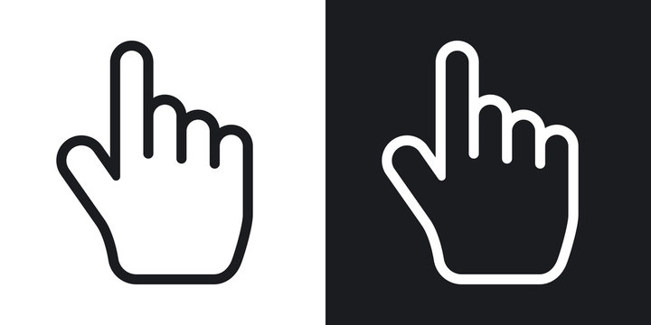 Vector hand cursor. Two-tone version on black and white background