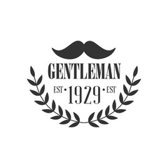 Gentleman Club Label Design With Moustache