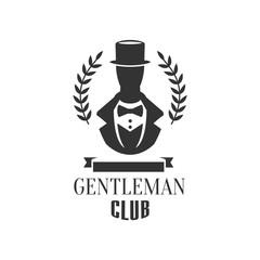 Gentleman Club Label Design With Man Silhouette
