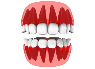 3d illustration of x-ray gum with teeth and tongue. icon for game web. white background isolated. colored and cute. anatomy part of the mouth.