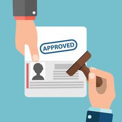 Visa Stamp Passport Flat Icon Businessman Hand Hold Travel Approved Document Vector Illustration