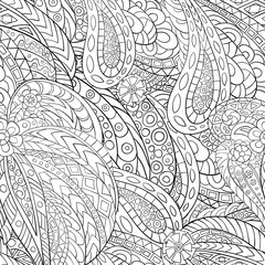 Hand-drawn seamless pattern of abstract geometric elements. 